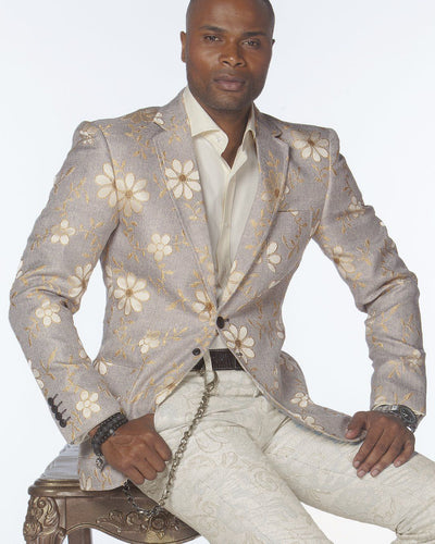 Sport Coat - D. Flower Beige                                     - wedding - Jackets - Men - ANGELINO