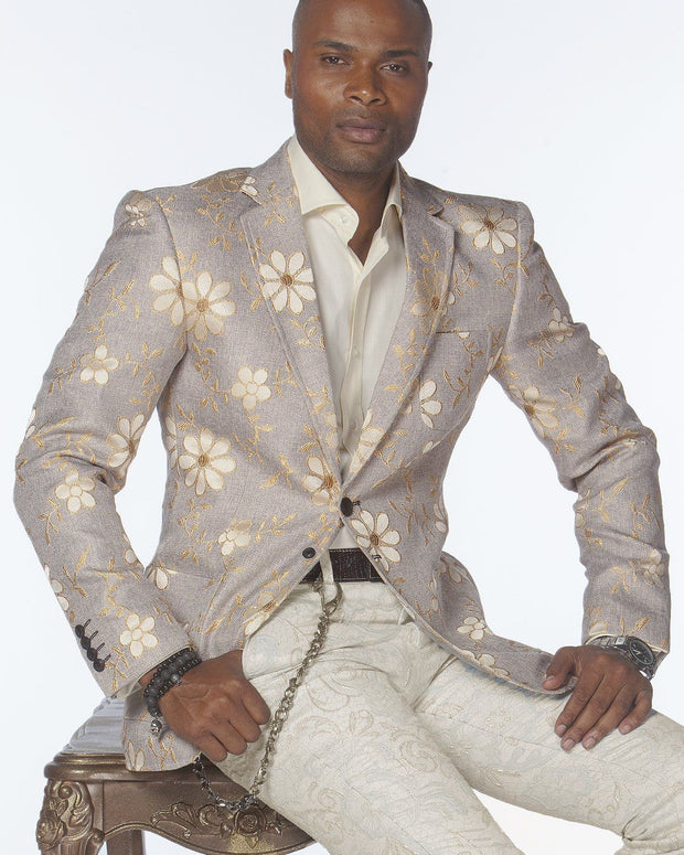 Sport Coat - Daisy Flower Beige - wedding - Jackets - ANGELINO