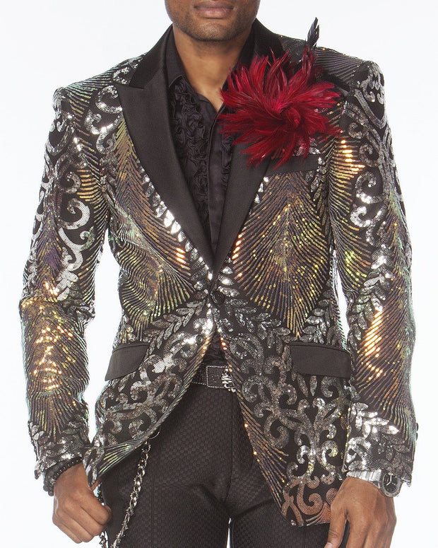 Prom Blazer, Sequin Blazer, Silver with. black lapel jacket - ANGELINO
