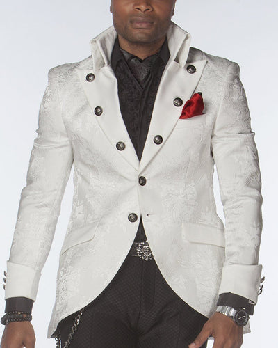 Prom Tuxedo 2020, white jacquard with . high collar.
