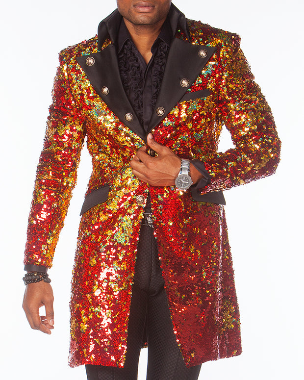 Long coat men, sequin red fabric, high collar