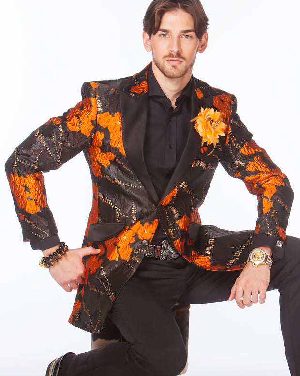 Prom tuxedo 2020, Orange floral Blazer with black lapel.