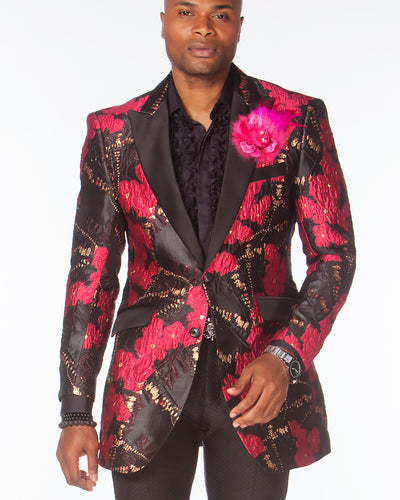 Prom Blazer,tuxedo jacket floral pink with solid black lapels.