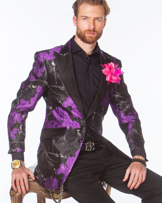 Prom tuxedo, 2020, Purple Prom Blazer with black lapels.
