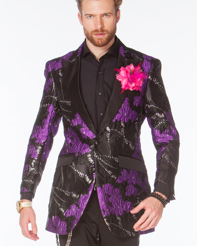 Prom Blazer,  Prom tuxedo 2020, floral Purple Prom Blazer with black lapel