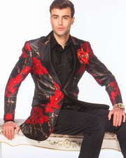 Prom tux 2020, Red Prom Blazer with black lapels.