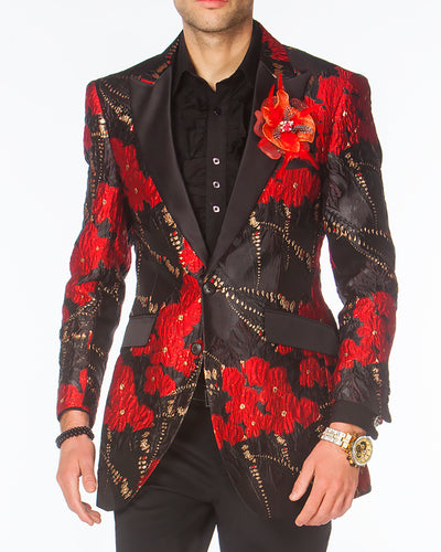 Prom Blazer, Prom tuxedo 2020, Red Prom Blazer with black lapel.