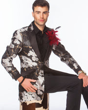 Prom tuxedo 2020, Silver floral Blazer with black lapels