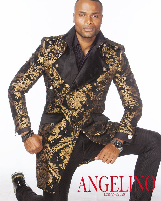 Men's Fashion Jacket - Majesty Gold/Black - Stylish - Coat - Long - ANGELINO