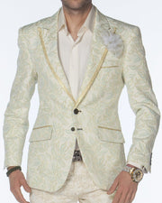 Mens tuxedo jacket, mens suit jacket with gold trim on lapel, with floral motifs.