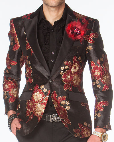 Prom Blazer, tuxedo blazer burgundy floral design with black lapel