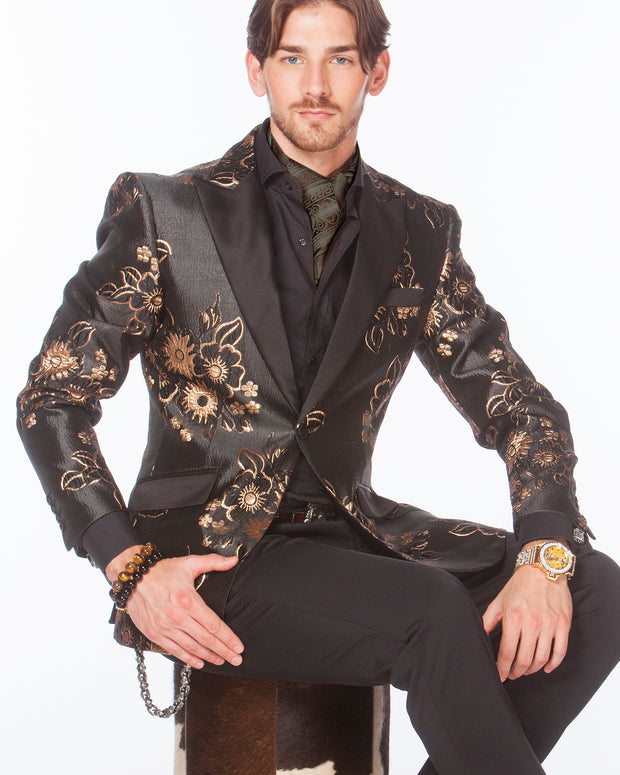 Prom tuxedo, floral gold and black tuxedo blazer with black lapel -  2
