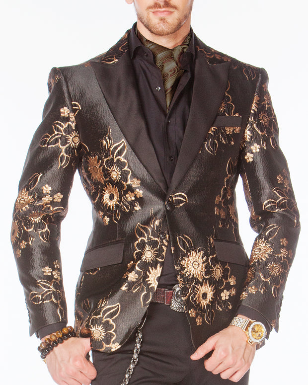Prom blazer, floral gold and black tuxedo blazer with black lapel