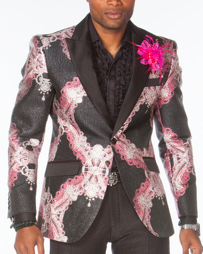 Prom Blazer, tuxedo blazer with pink victorian motives and black lapel