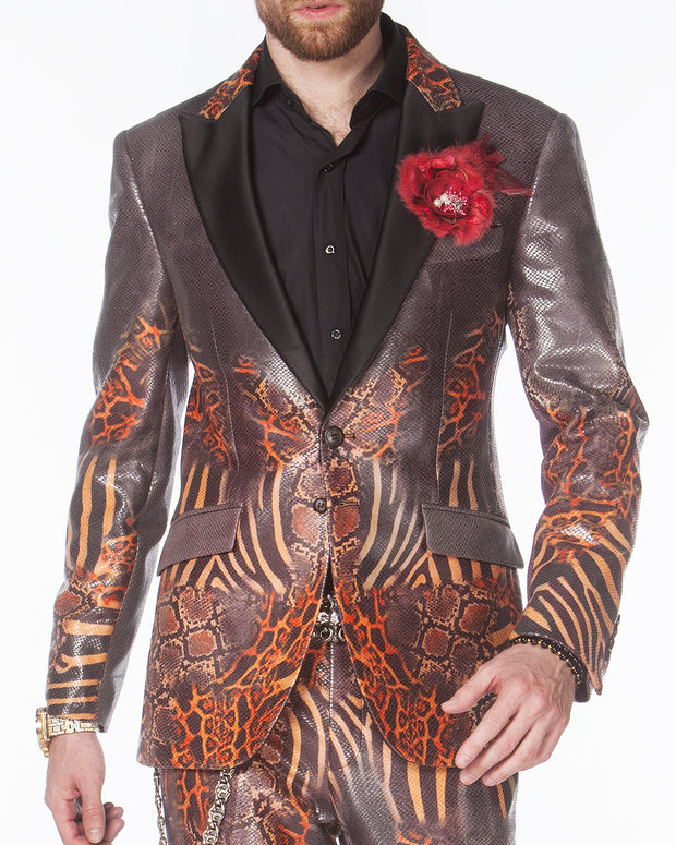 prom suit, prom suits 2020, animal printed fabric blazer with black lapels. suit