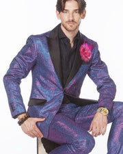 Prom Suit - sparkling Purple tuxedo suit with black lapels