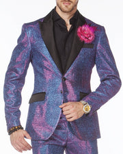 Prom Suit - glittering Purple Suit with black lapel  - ANGELINO