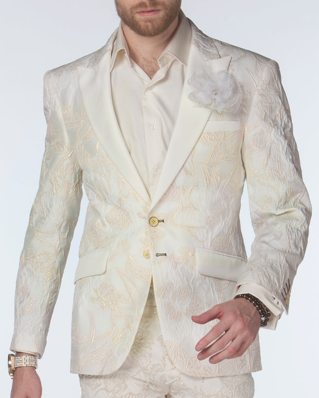 White Tuxedo Jacket - Crinkle off white - Mens - Prom - Blazers - ANGELINO