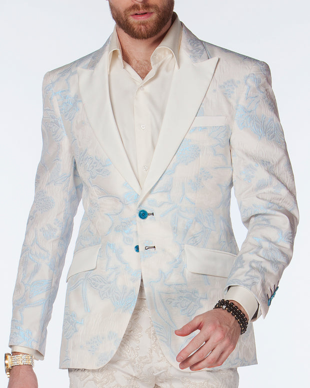 White Tuxedo Jacket - Crinkle Blue. - Off white - Blazer - Wedding - ANGELINO