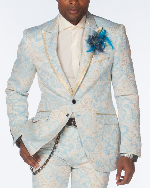 Prom Suits, light Blue light floral blazer with pants, Prom Suit 2020