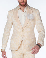 Prom Suit, Beige tuxedo with solid beige lapel, Wedding Suit