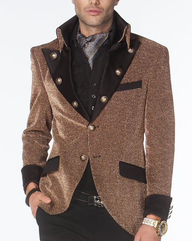 prom blazer, rose gold prom blazer, with black lapels