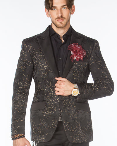 Tuxedo Jacket - London2 Black/Gold  - Tuxedo - Black - Men - ANGELINO