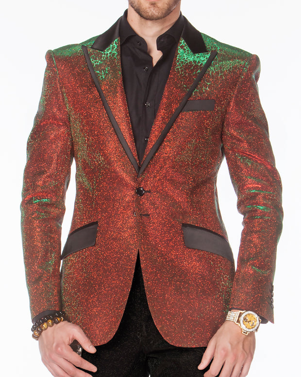 Red prom Suit with black pants, gillitter Jacket