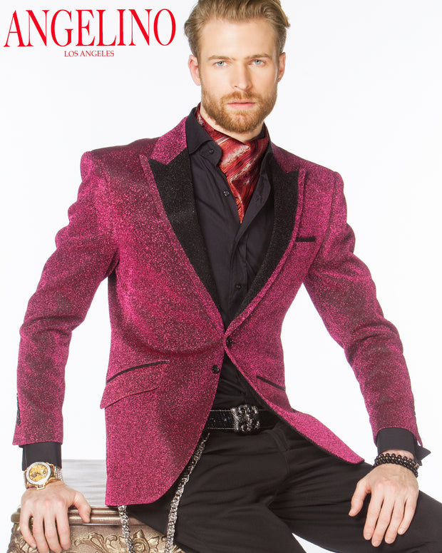 Prom Blazer - Pink shiny blazer - Wedding - ANGELINO