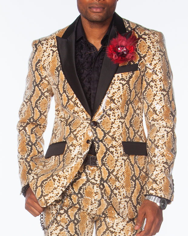 SEQUIN SUITS, Animal print covered with clear sequins