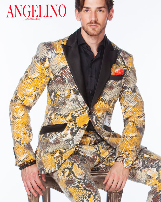 Prom Suit, Sequin Suit -  Python Gold - Mens - Fashion - Suits - ANGELINO