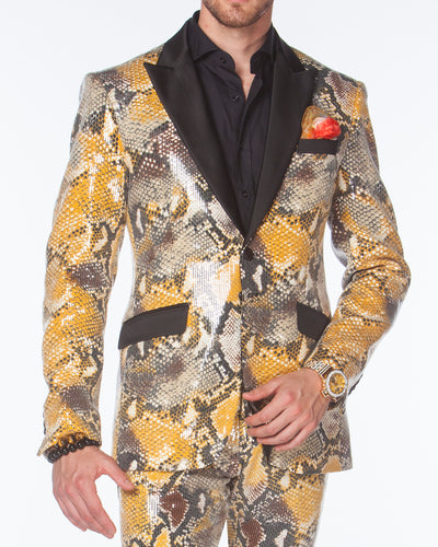 Prom suit, Sequin Print covered with clear sequins, Fashion suit