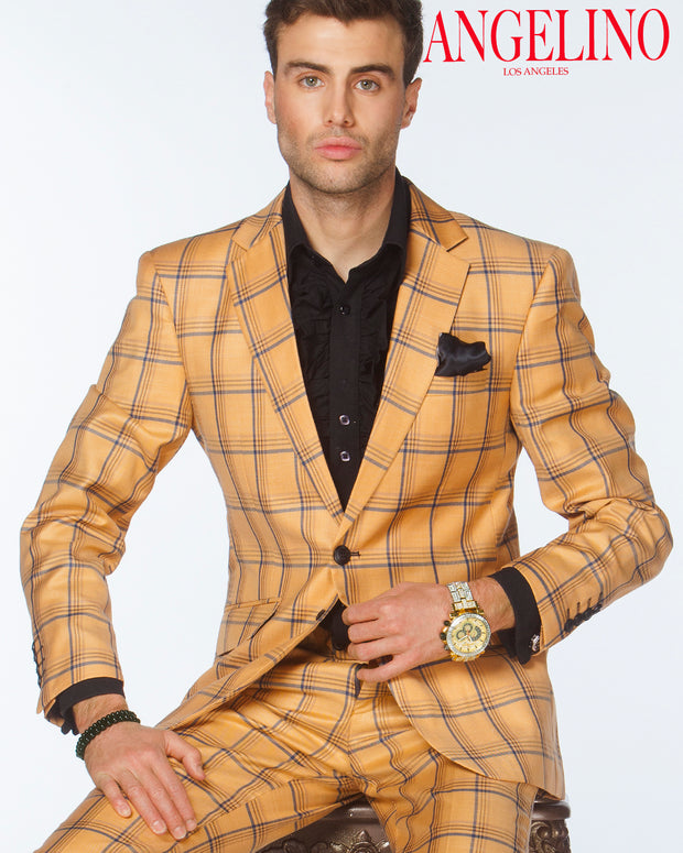 Plaid Suit-New Plaid Gold - Fashion - suits - Men - ANGELINO