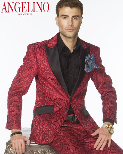 Prom Suits, Salsa Burgundy Suit - Tuxedo - Suit - Burgundy - ANGELINO