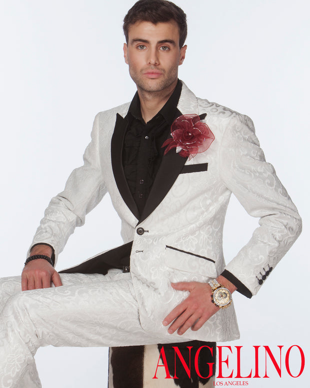 Men's Fashion Suit, Tuxedo - New Salsa White - Prom - Suit - wedding - ANGELINO