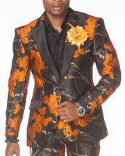 Prom Suits, Orange jacquard flower design suit. ANGELINO