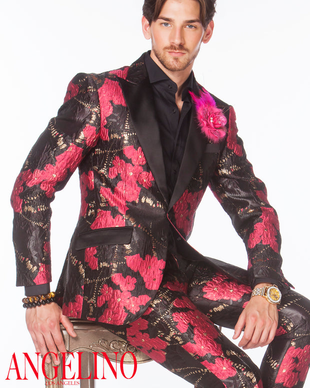 Prom suits 2020, Pink Prom Suit with floral design