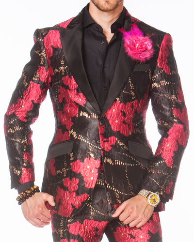 Prom Suits, Pink floral Prom tuxedo 2020, with black lapel