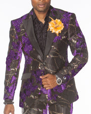 Purple Prom Suit, Purple Suit floral design with black lapel, Prom suits 2020