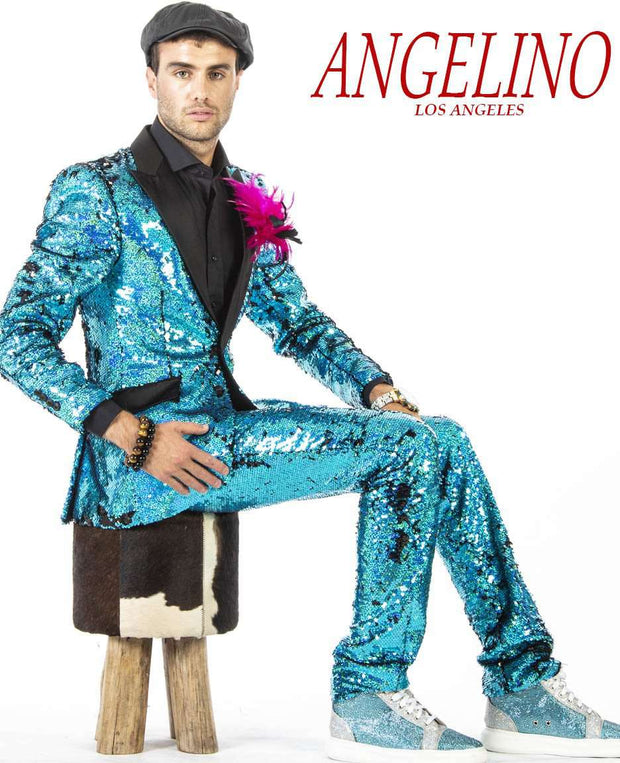 Men Sequin Suits, tuxedo style, teal color with black lapel.