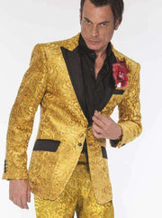 Mens Fashion Suit, Gold tuxedo looking suit with black lapel - ANGELINO