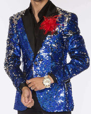 Sequin blazer for men, Fashion blue and silver color with satin black lapel - ANGELINO