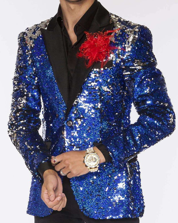 Sequin Jacket for Men blue, and silver color with satin black lapel - ANGELINO