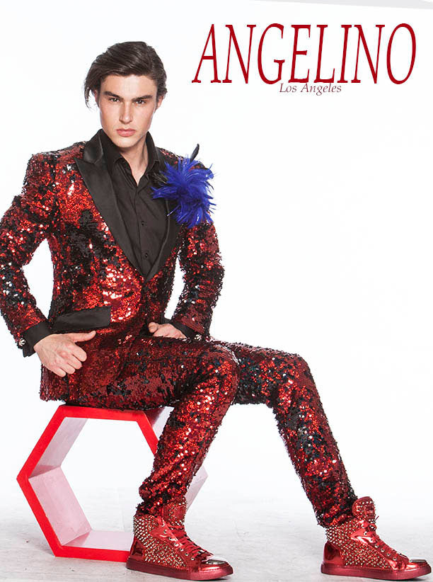 Red prom suit, sequin red suit good for prom