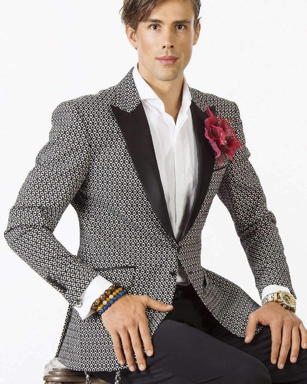 Blazer for men - black and white tuxedo looking jacket with black lapel.