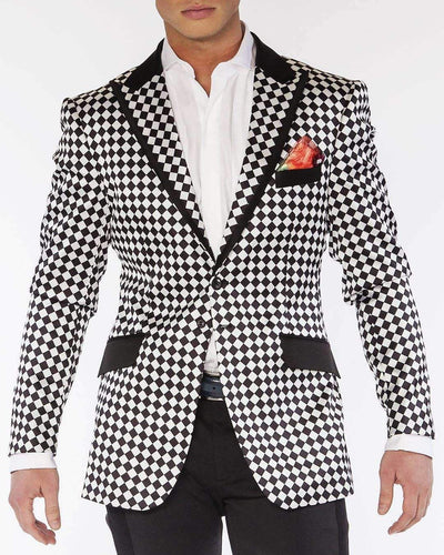 Mens sport coats with satin printed black and white check fabric