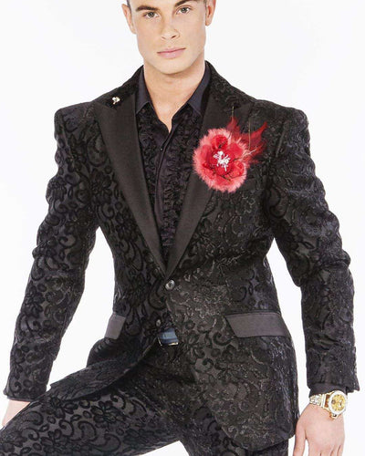 black victorian motif suits with black satin lapel and pocket lapel.