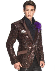 Men's New Fashion Blazer and Sport Coat Stella Brown - ANGELINO