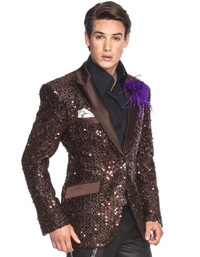 Sequin Blazer, Sport Coat Stella Brown - Fashion - Blazer - Sequin - ANGELINO