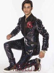 Sequin Suits for men black with black satin lapel- 2  - ANGELINO